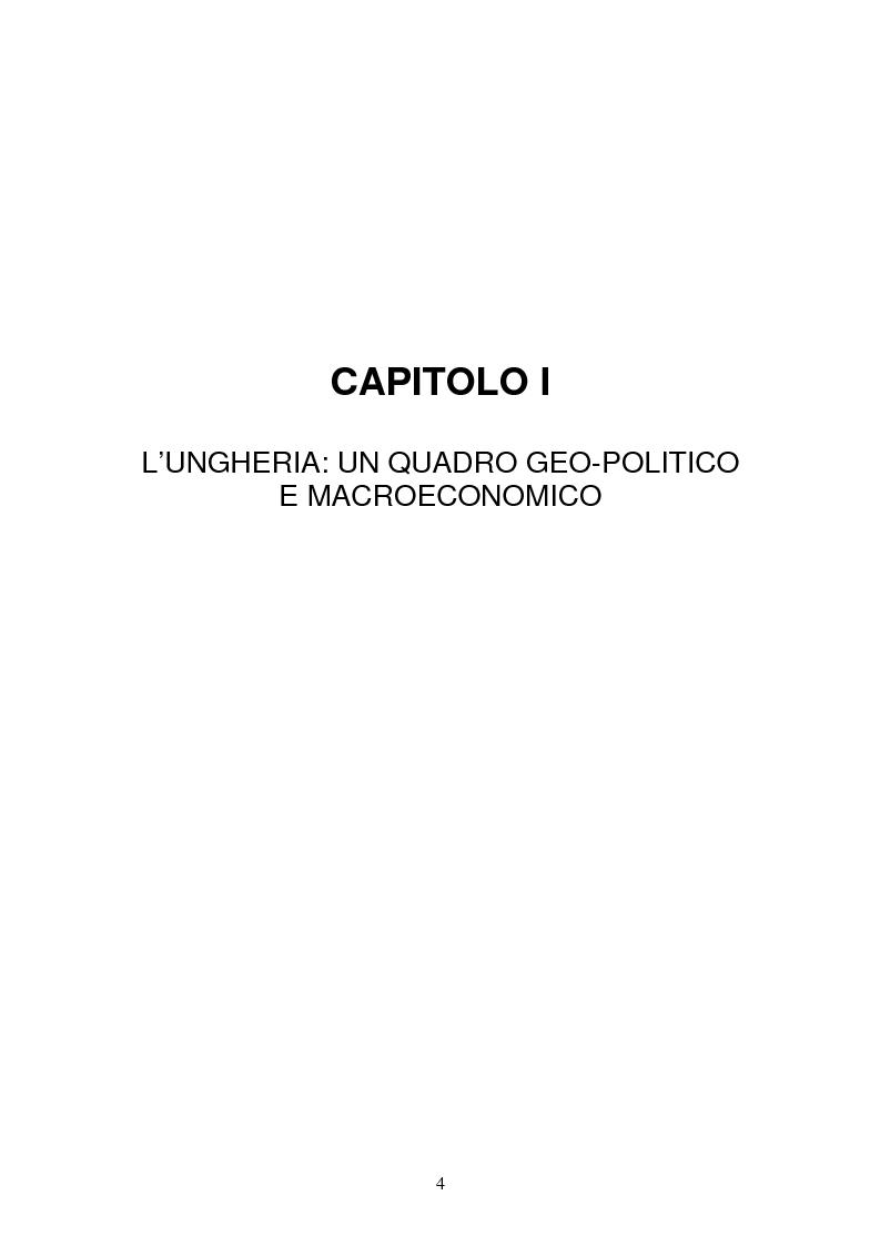 Anteprima della tesi: Lo sviluppo economico e territoriale in un paese dell'Est Europa: il caso dell'Ungheria, Pagina 3