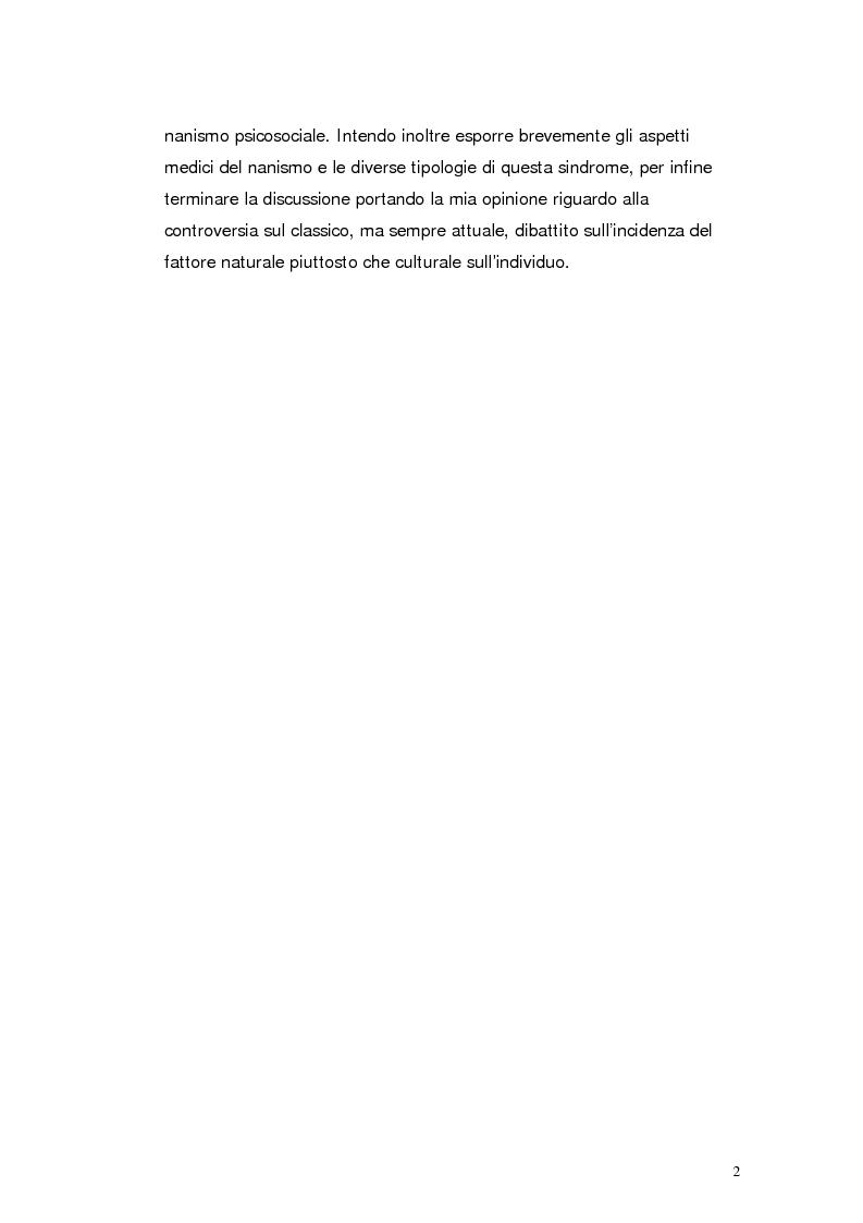 Anteprima della tesi: Il nanismo da deprivazione affettiva. Natura o Cultura?, Pagina 2
