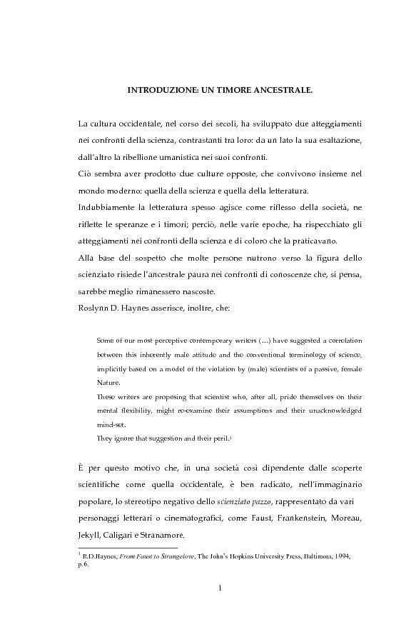 Anteprima della tesi: La figura dello scienziato stregone nella letteratura otto-novecentesca, Pagina 1