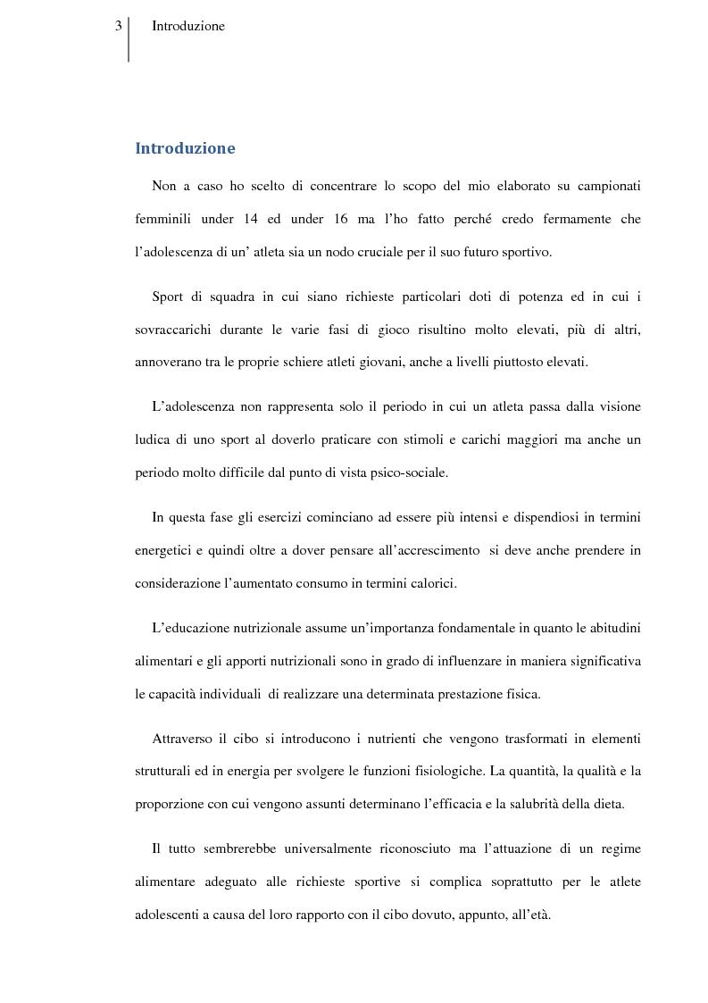 Anteprima della tesi: Carboidrati e pallavolo: la necessità del pasto percompetitivo in campionati femminili under 14 ed under 16, Pagina 1