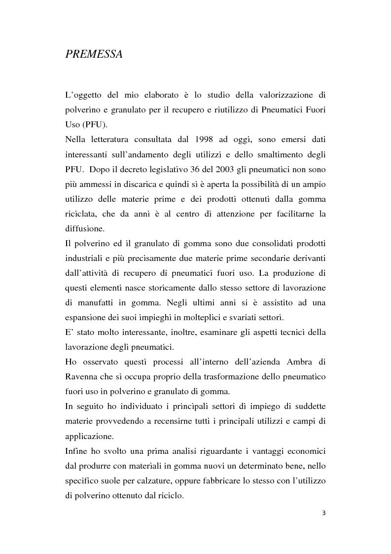 Anteprima della tesi: Valorizzazione di polverino e granulato per il recupero e riutilizzo di pneumatici fuori uso (PFU): aspetti tecnici e valutazione costi benefici, Pagina 1