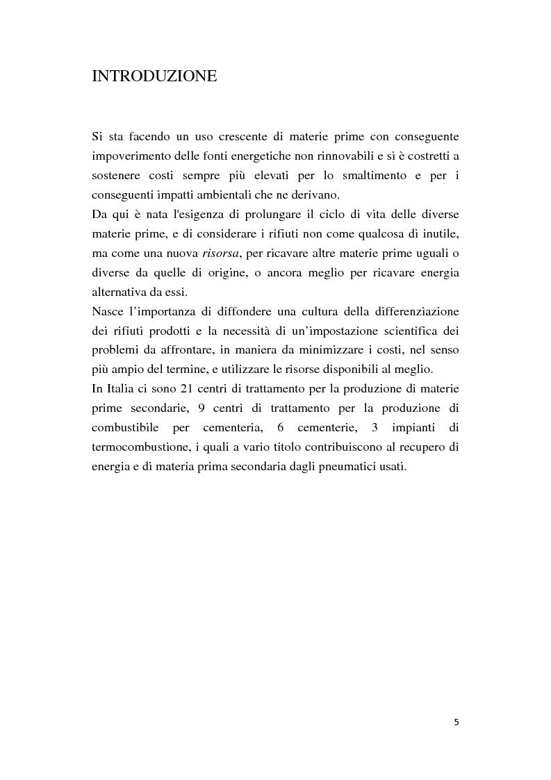 Anteprima della tesi: Valorizzazione di polverino e granulato per il recupero e riutilizzo di pneumatici fuori uso (PFU): aspetti tecnici e valutazione costi benefici, Pagina 3