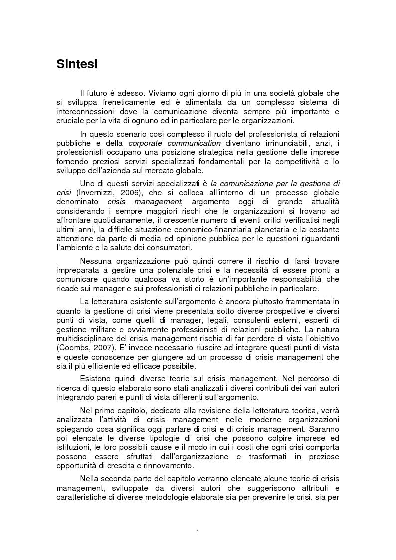 Anteprima della tesi: Il ruolo della fiducia nella gestione di crisi: il caso Mattel, Pagina 1
