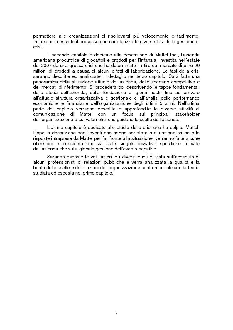Anteprima della tesi: Il ruolo della fiducia nella gestione di crisi: il caso Mattel, Pagina 2