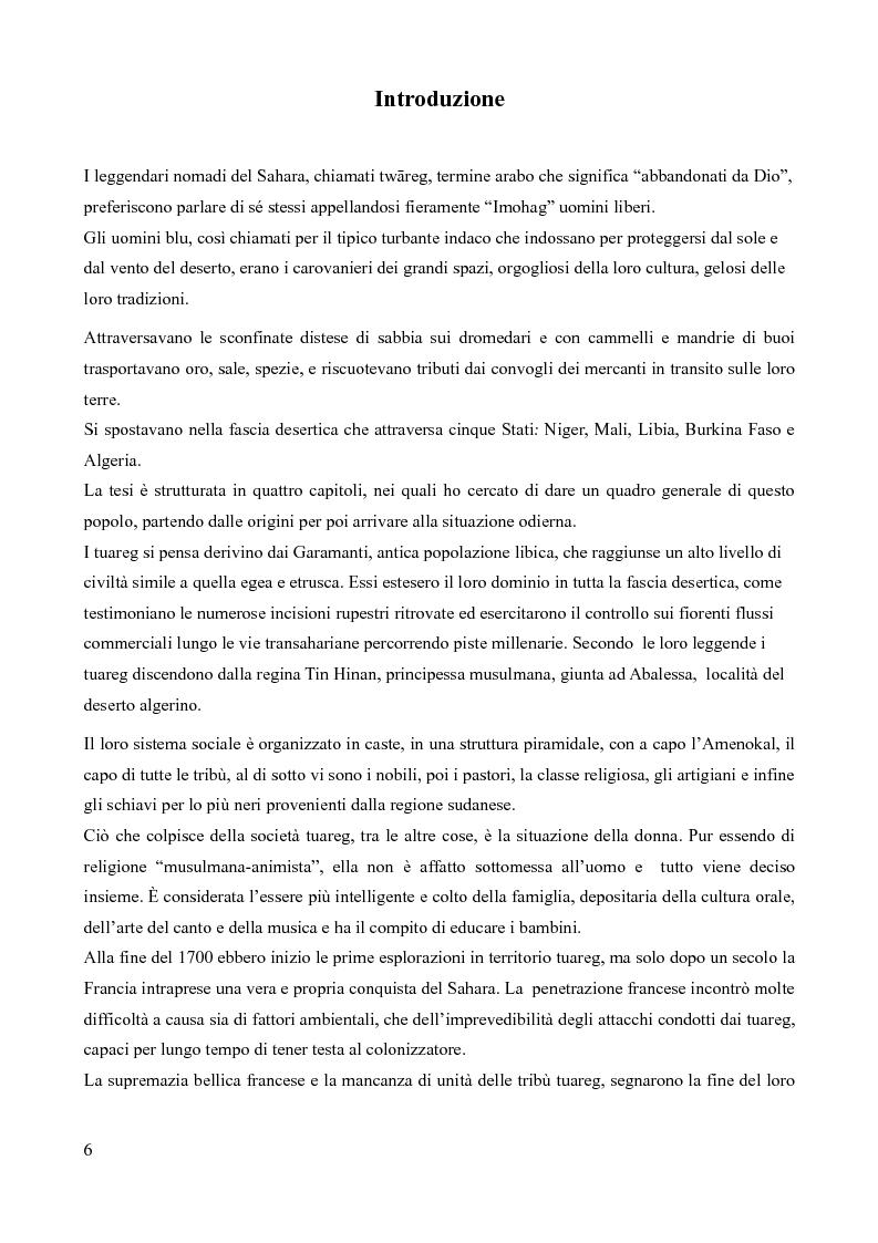 Anteprima della tesi: Tuareg: l'evoluzione storica di un popolo nomade, Pagina 1