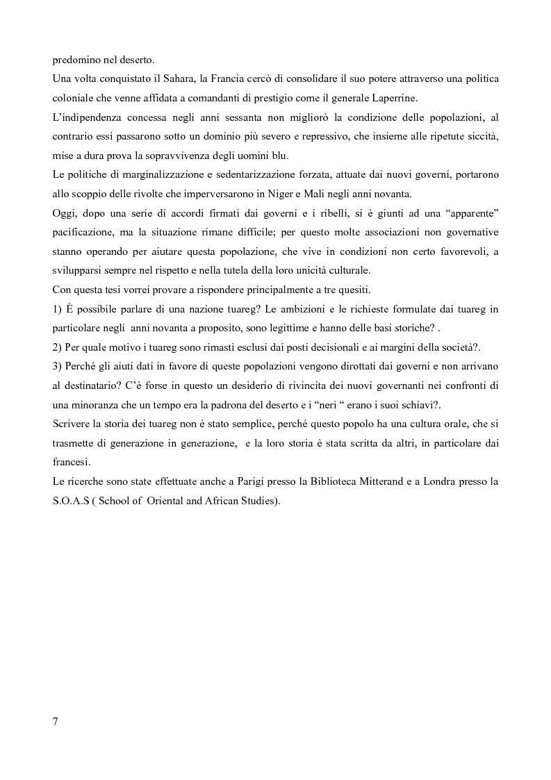 Anteprima della tesi: Tuareg: l'evoluzione storica di un popolo nomade, Pagina 2