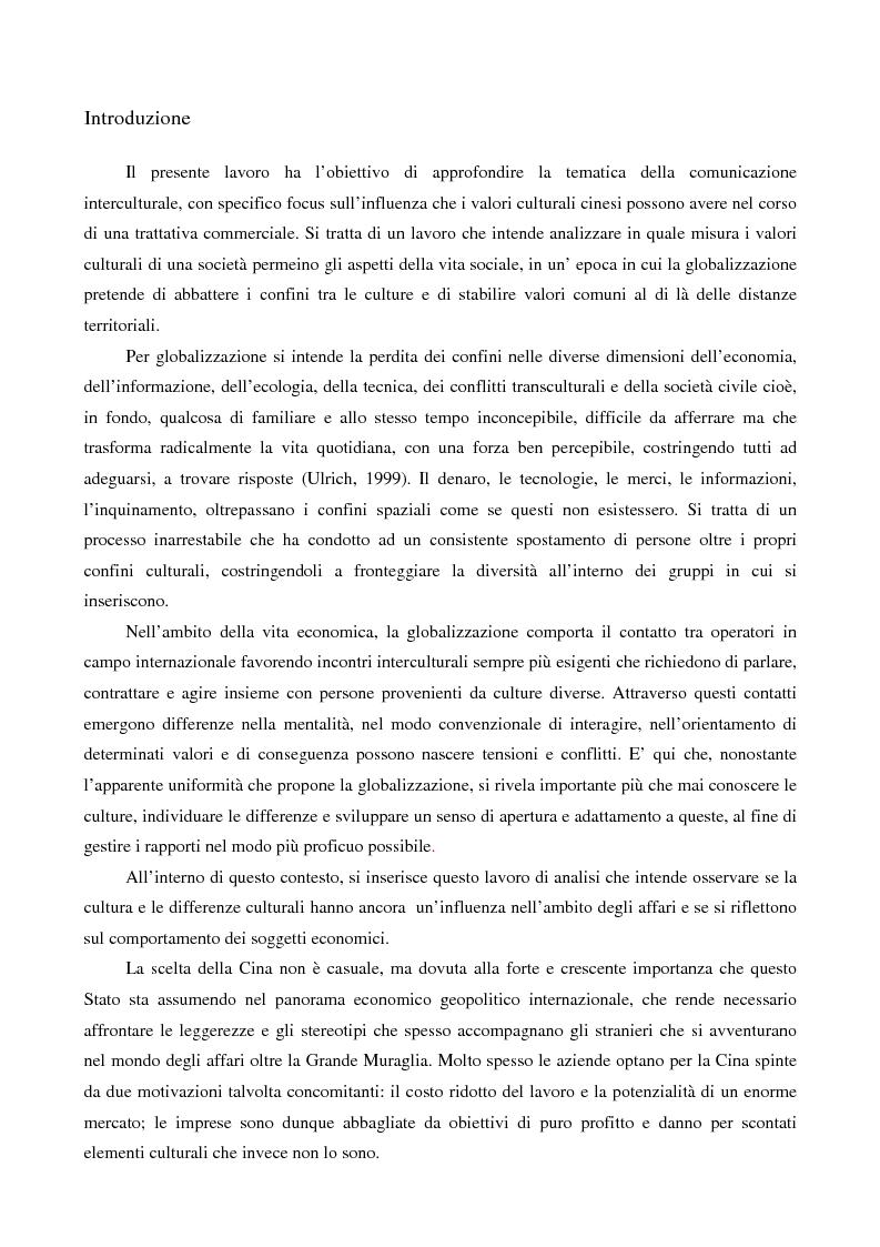 Anteprima della tesi: Negoziazione e trattativa commerciale tra Cina e Italia: la percezione delle imprese italiane, Pagina 1