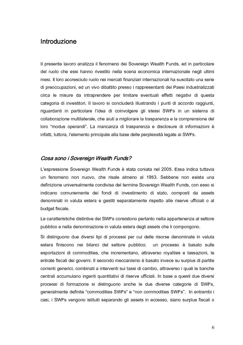 Anteprima della tesi: Gli investimenti dei Sovereign Wealth Funds: prospettive per Unione Europea e Stati Uniti, Pagina 1