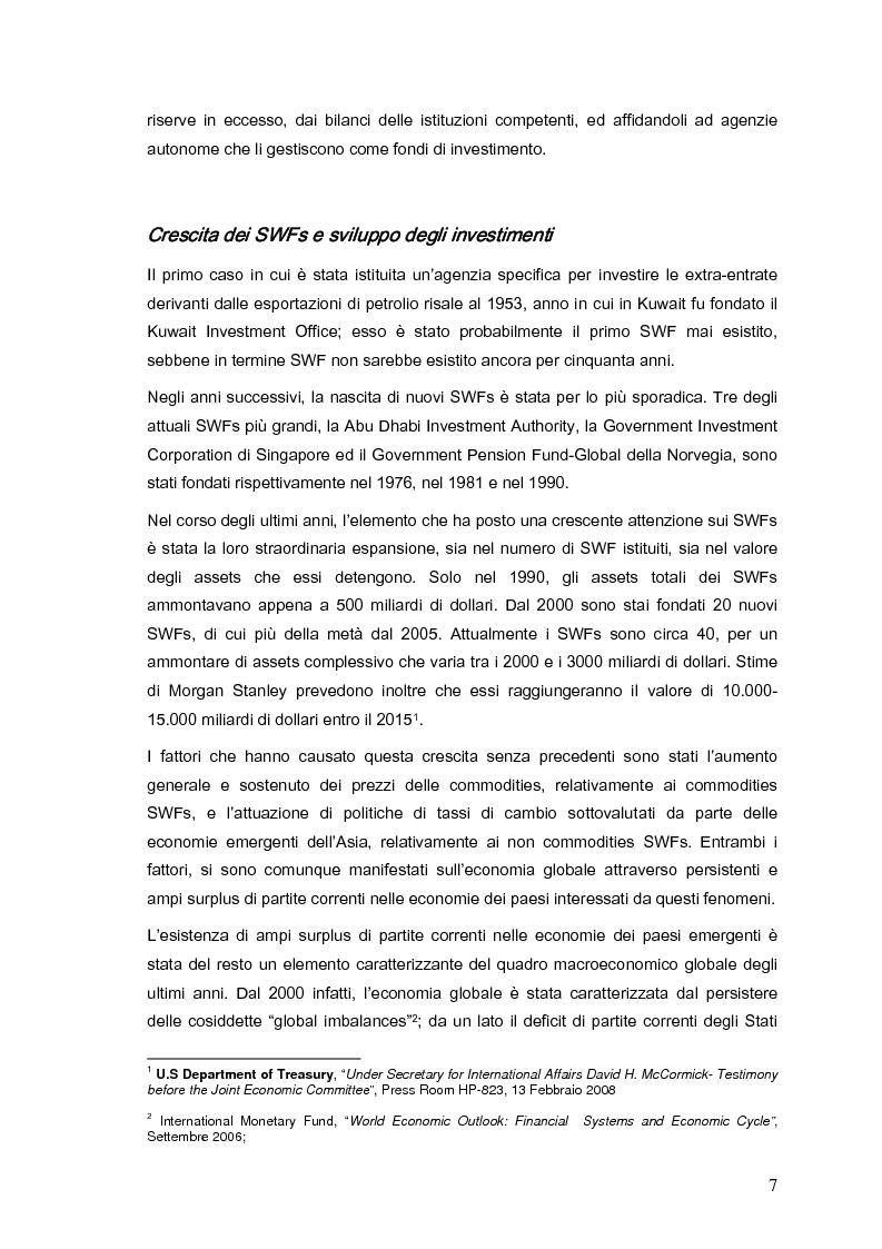 Anteprima della tesi: Gli investimenti dei Sovereign Wealth Funds: prospettive per Unione Europea e Stati Uniti, Pagina 2