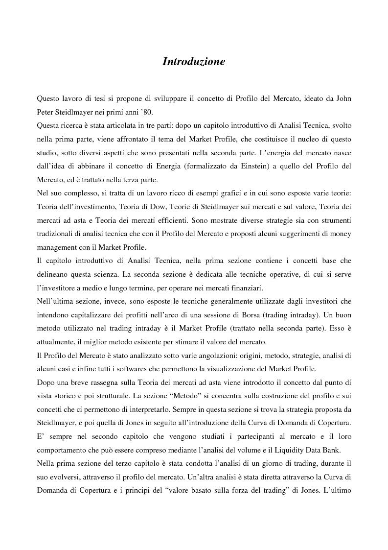 Anteprima della tesi: Market profile: origini, metodo, strategie e software, Pagina 1