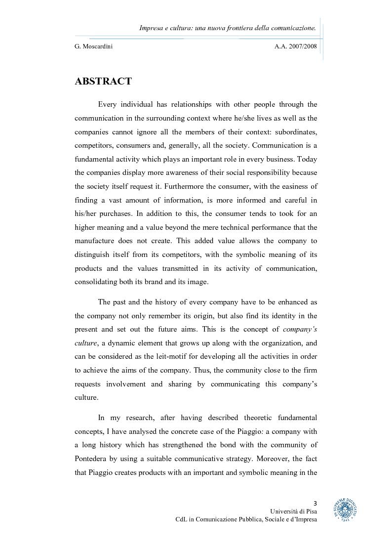 Anteprima della tesi: Impresa e cultura: una nuova frontiera della comunicazione, Pagina 1