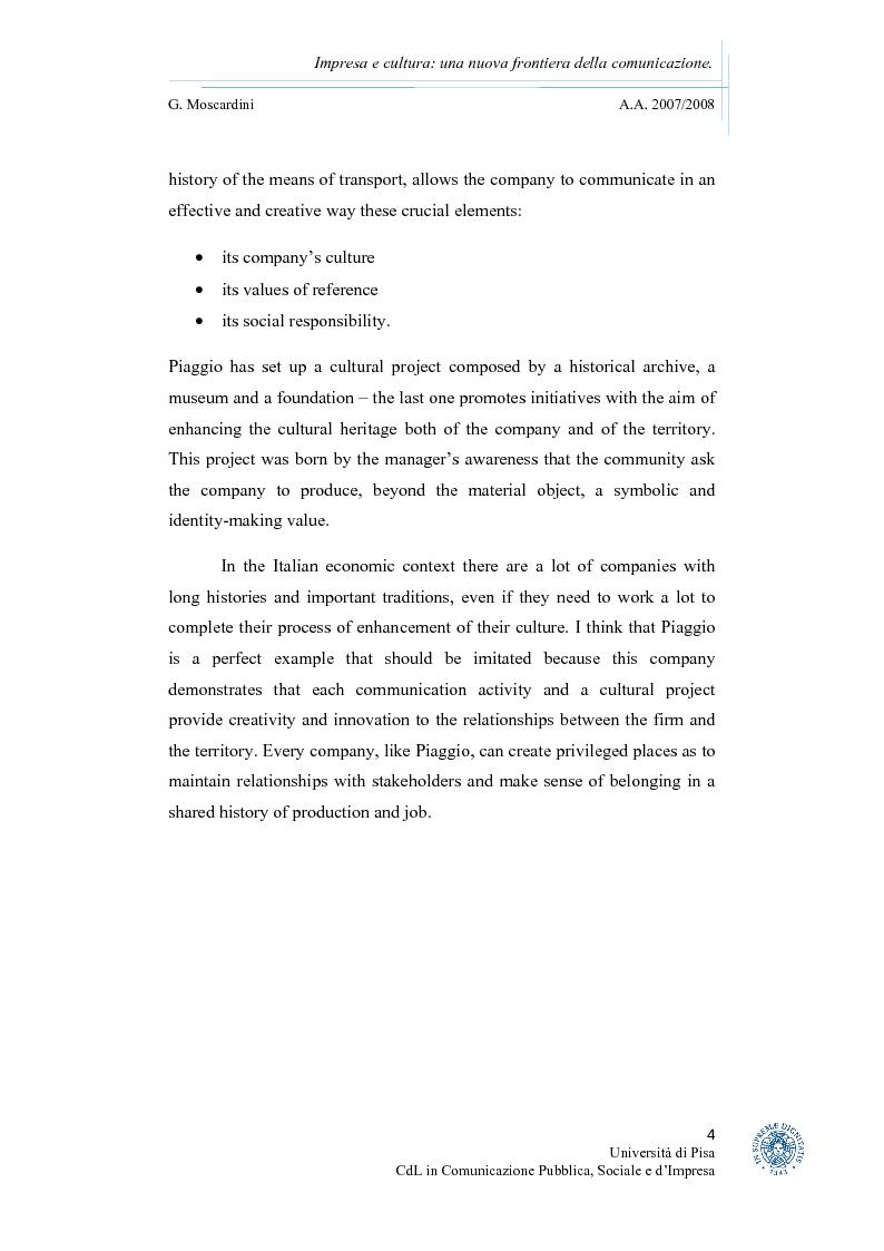 Anteprima della tesi: Impresa e cultura: una nuova frontiera della comunicazione, Pagina 2