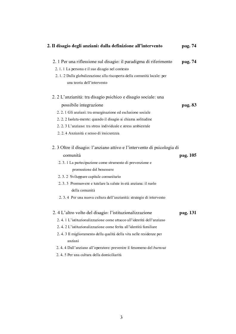 Indice della tesi: La psicologia dell'anziano: prospettive interrelazionali, Pagina 2