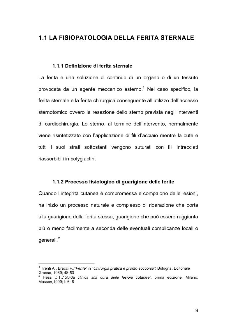 Anteprima della tesi: Assistenza infermieristica nei pazienti cardiochirurgici con deiscenza della ferita chirurgica sternale, portatori di VAC Terapia, Pagina 5