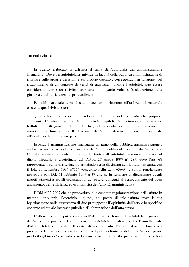 Anteprima della tesi: L'autotutela in diritto tributario, Pagina 1