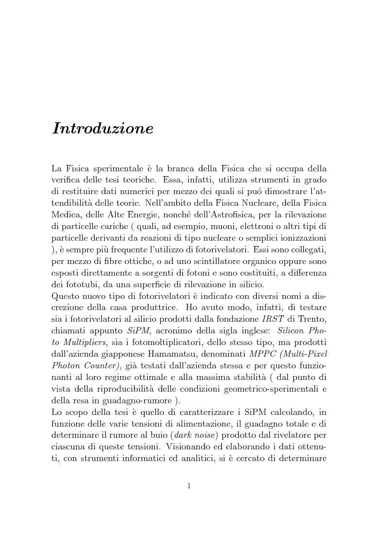 Anteprima della tesi: Studio dei parametri caratteristici di fotomoltiplicatori multipixel a stato solido di tipo SiPM, Pagina 1