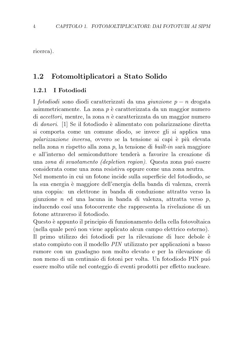Anteprima della tesi: Studio dei parametri caratteristici di fotomoltiplicatori multipixel a stato solido di tipo SiPM, Pagina 4