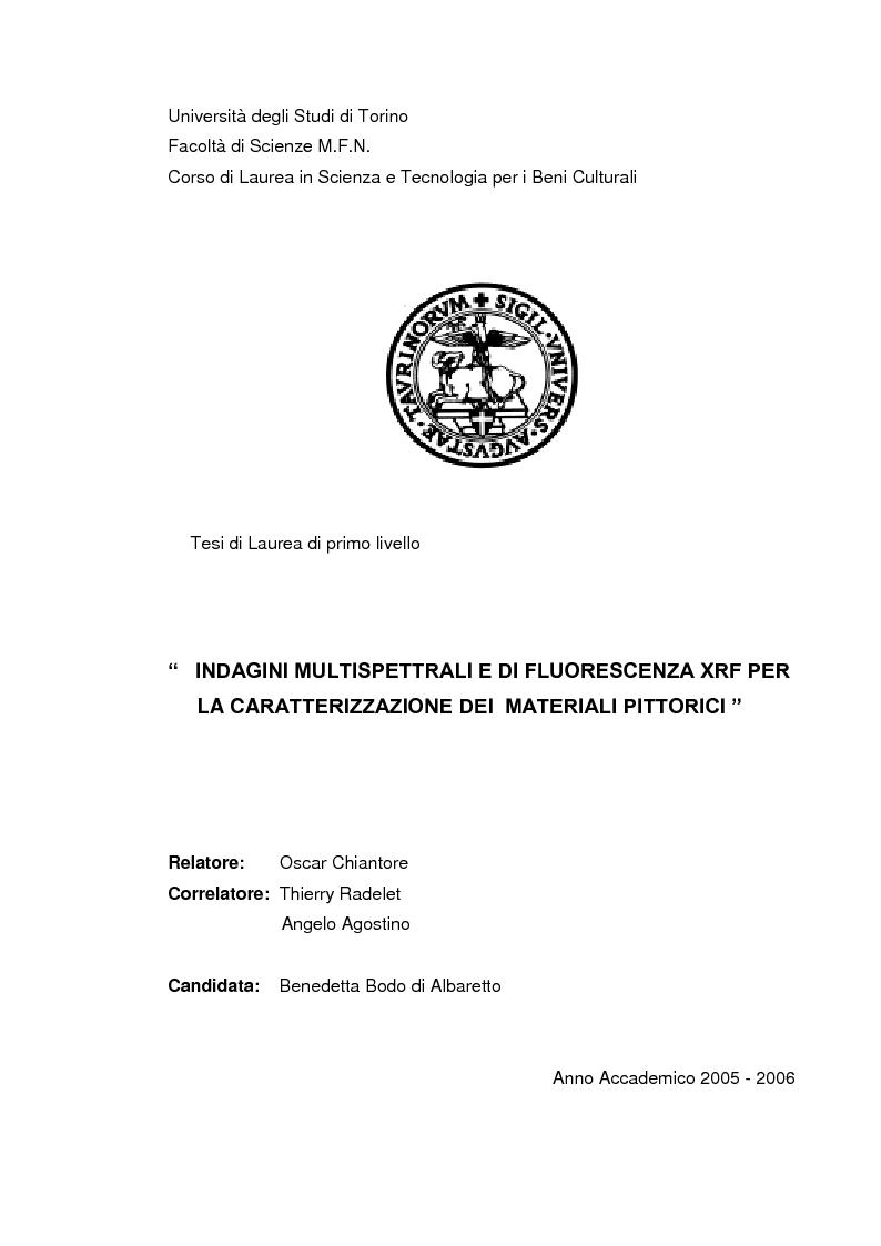 Anteprima della tesi: Indagini multispettrali e di fluorescenza Xrf per la caratterizzazione dei materiali pittorici su un dipinto di Massimo d'Azeglio, Pagina 1