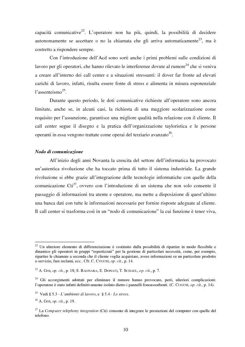Anteprima della tesi: Il lavoro nei call center: organizzazione e profili giuridici, Pagina 10