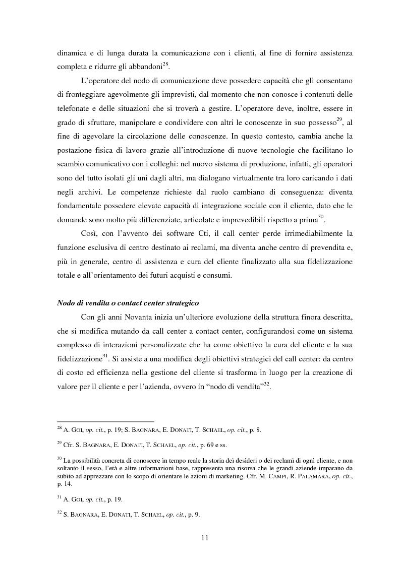 Anteprima della tesi: Il lavoro nei call center: organizzazione e profili giuridici, Pagina 11