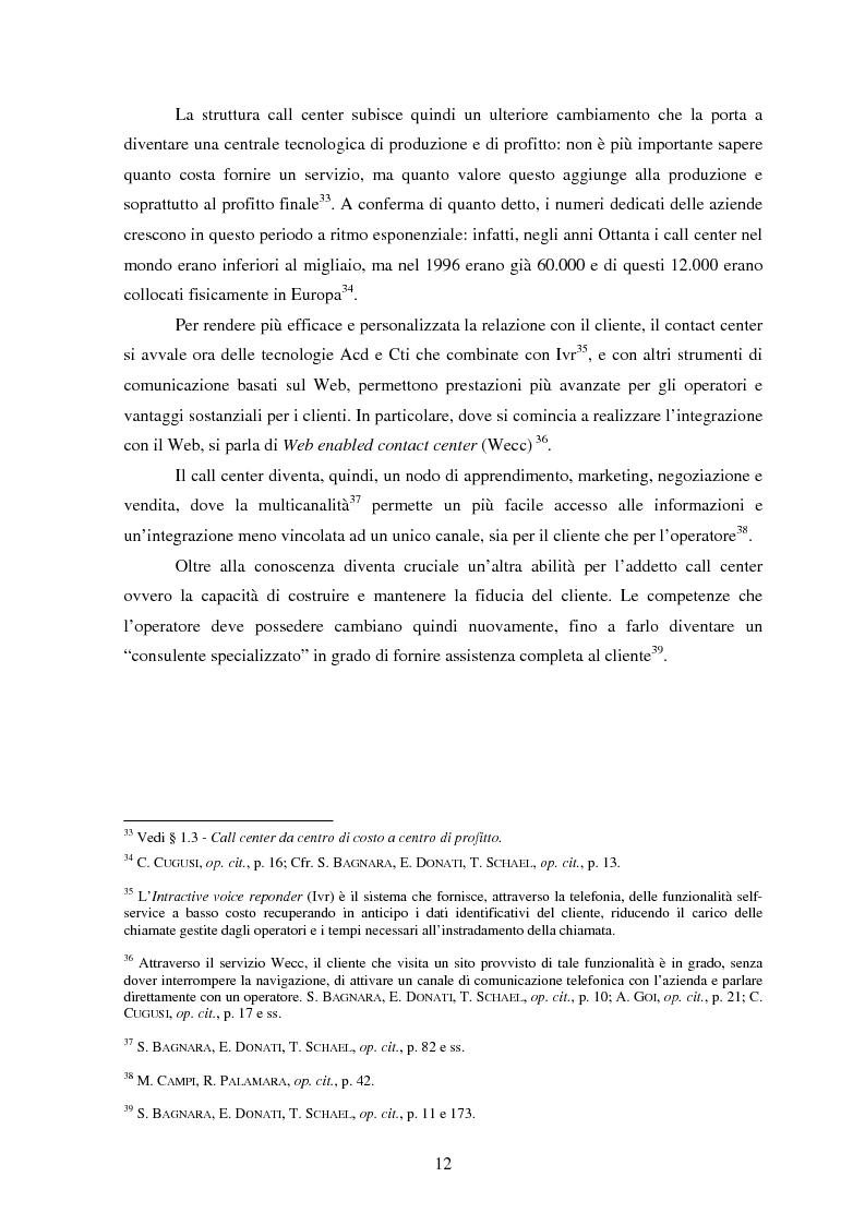 Anteprima della tesi: Il lavoro nei call center: organizzazione e profili giuridici, Pagina 12
