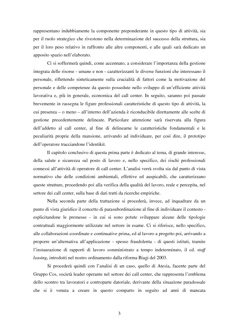 Anteprima della tesi: Il lavoro nei call center: organizzazione e profili giuridici, Pagina 3