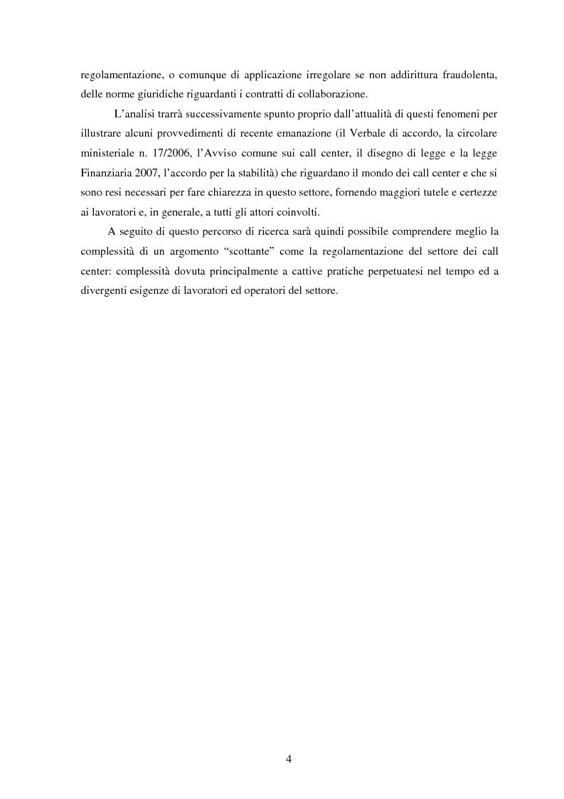 Anteprima della tesi: Il lavoro nei call center: organizzazione e profili giuridici, Pagina 4