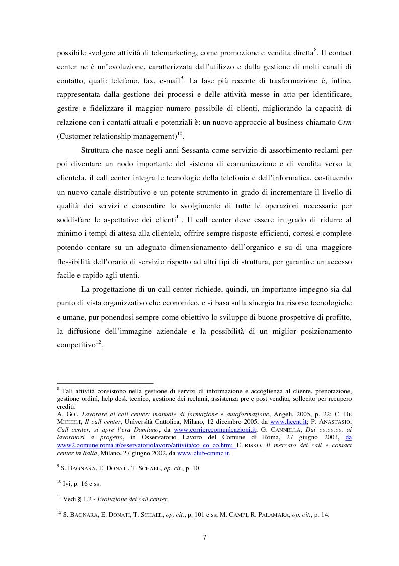 Anteprima della tesi: Il lavoro nei call center: organizzazione e profili giuridici, Pagina 7