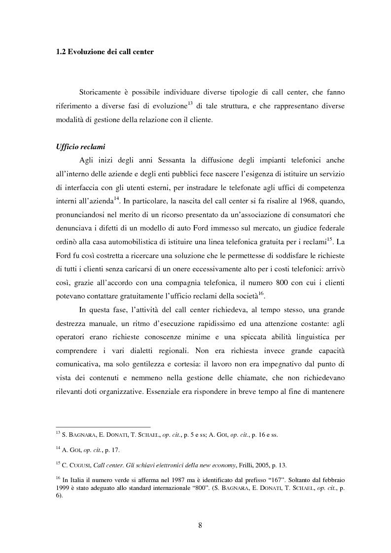 Anteprima della tesi: Il lavoro nei call center: organizzazione e profili giuridici, Pagina 8