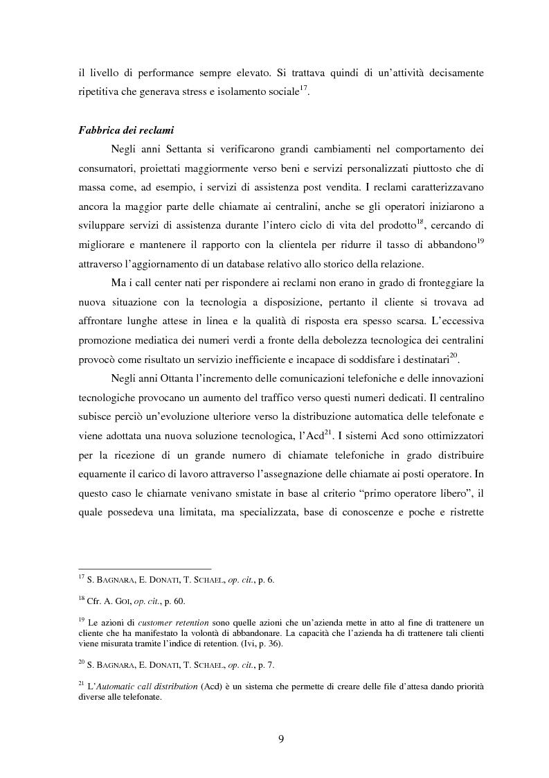 Anteprima della tesi: Il lavoro nei call center: organizzazione e profili giuridici, Pagina 9