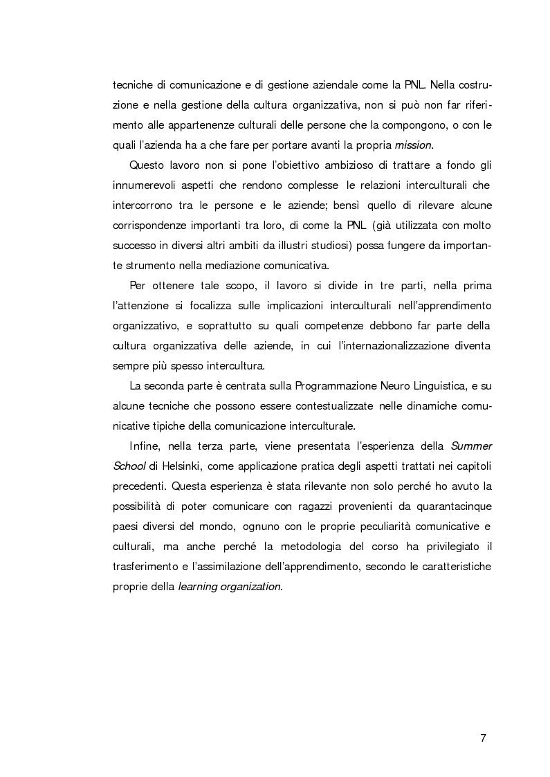 Anteprima della tesi: L'apprendimento organizzativo nei contesti interculturali. La funzione mediatrice della Programmazione Neuro Linguistica, Pagina 3