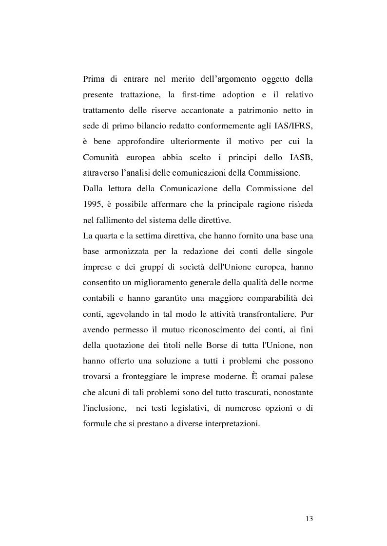 Anteprima della tesi: First-time adoption of the IAS/IFRS accounting standard e regime di disponibilità delle riserve di patrimonio netto, Pagina 6