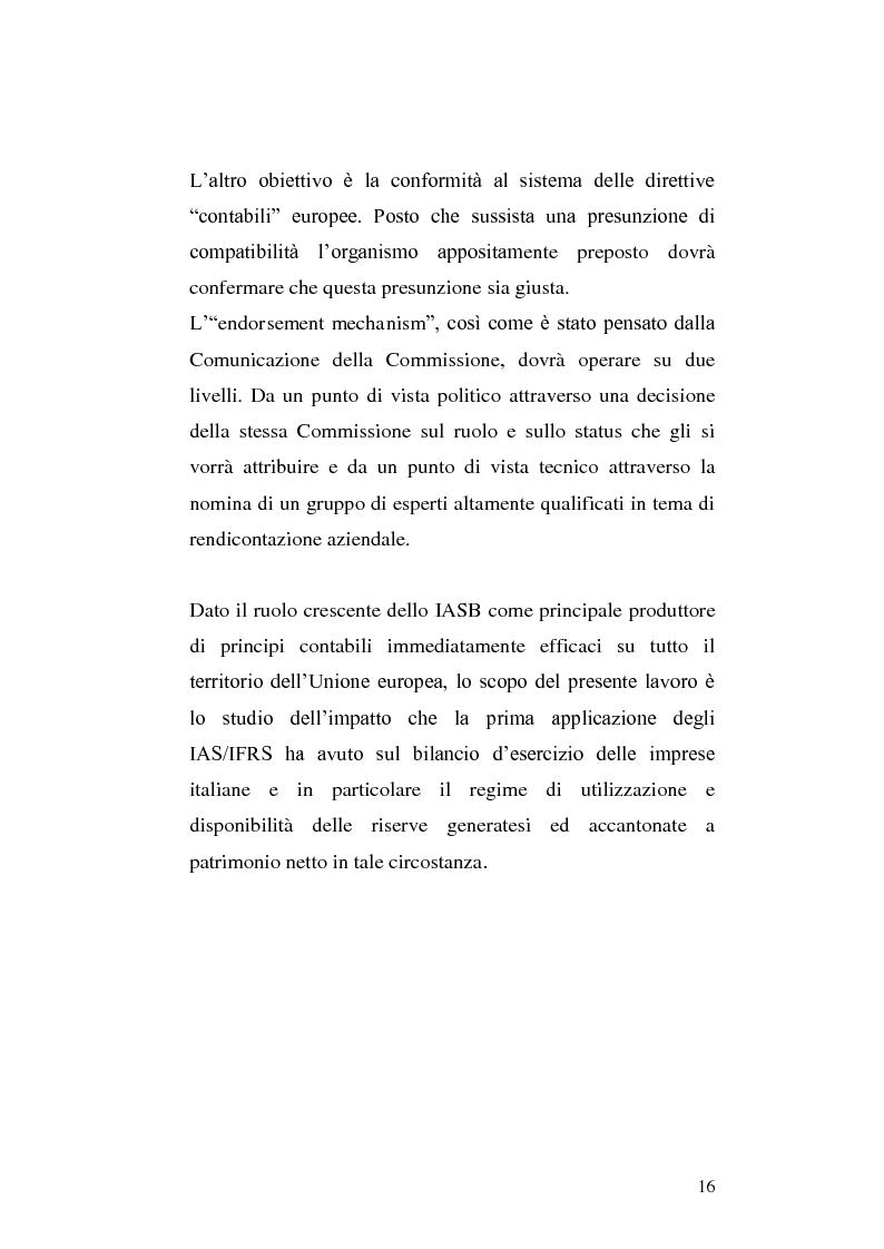 Anteprima della tesi: First-time adoption of the IAS/IFRS accounting standard e regime di disponibilità delle riserve di patrimonio netto, Pagina 9