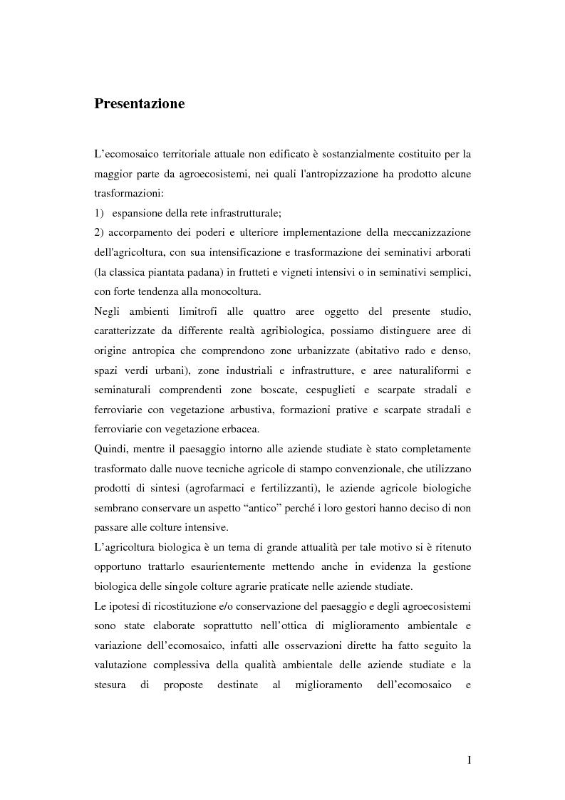 Anteprima della tesi: Prima ipotesi di controllo della qualità ambientale in aziende agribiologiche, Pagina 1