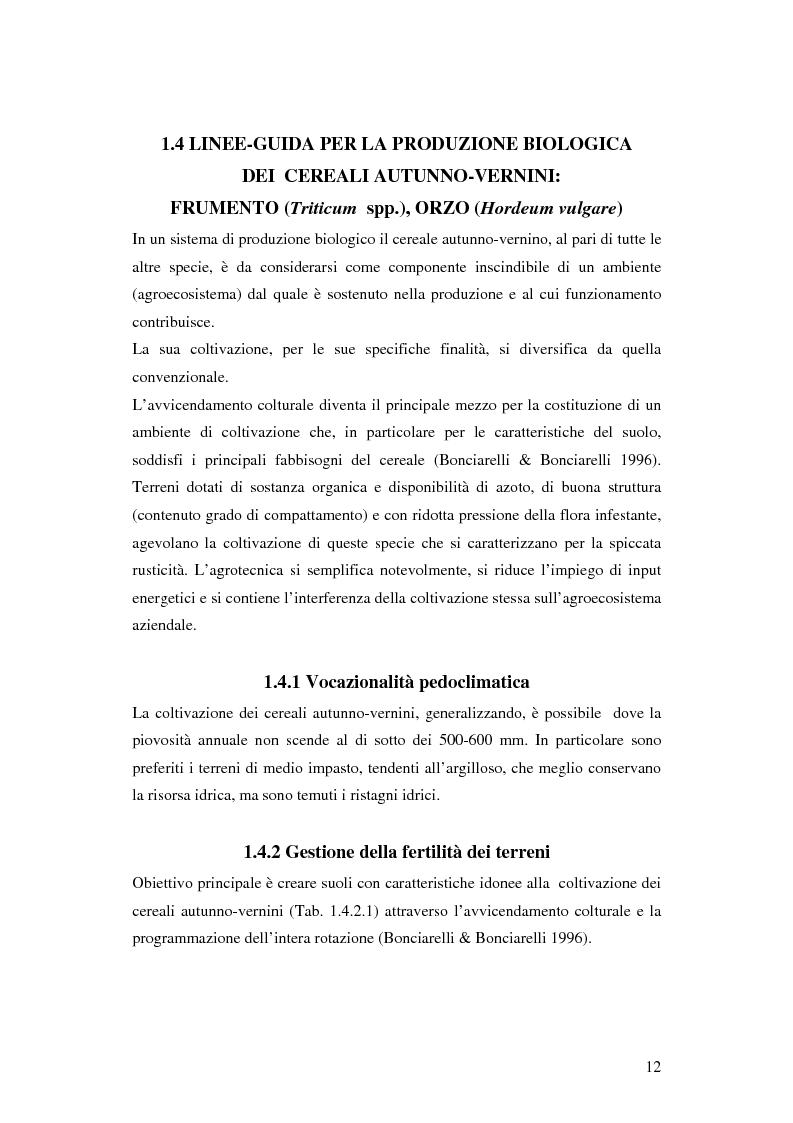 Anteprima della tesi: Prima ipotesi di controllo della qualità ambientale in aziende agribiologiche, Pagina 14