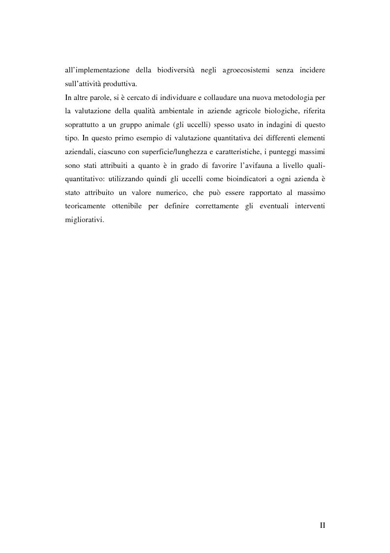 Anteprima della tesi: Prima ipotesi di controllo della qualità ambientale in aziende agribiologiche, Pagina 2