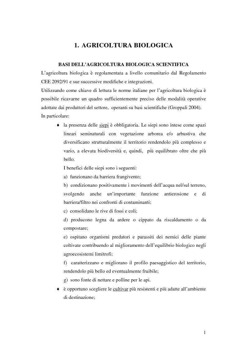 Anteprima della tesi: Prima ipotesi di controllo della qualità ambientale in aziende agribiologiche, Pagina 3