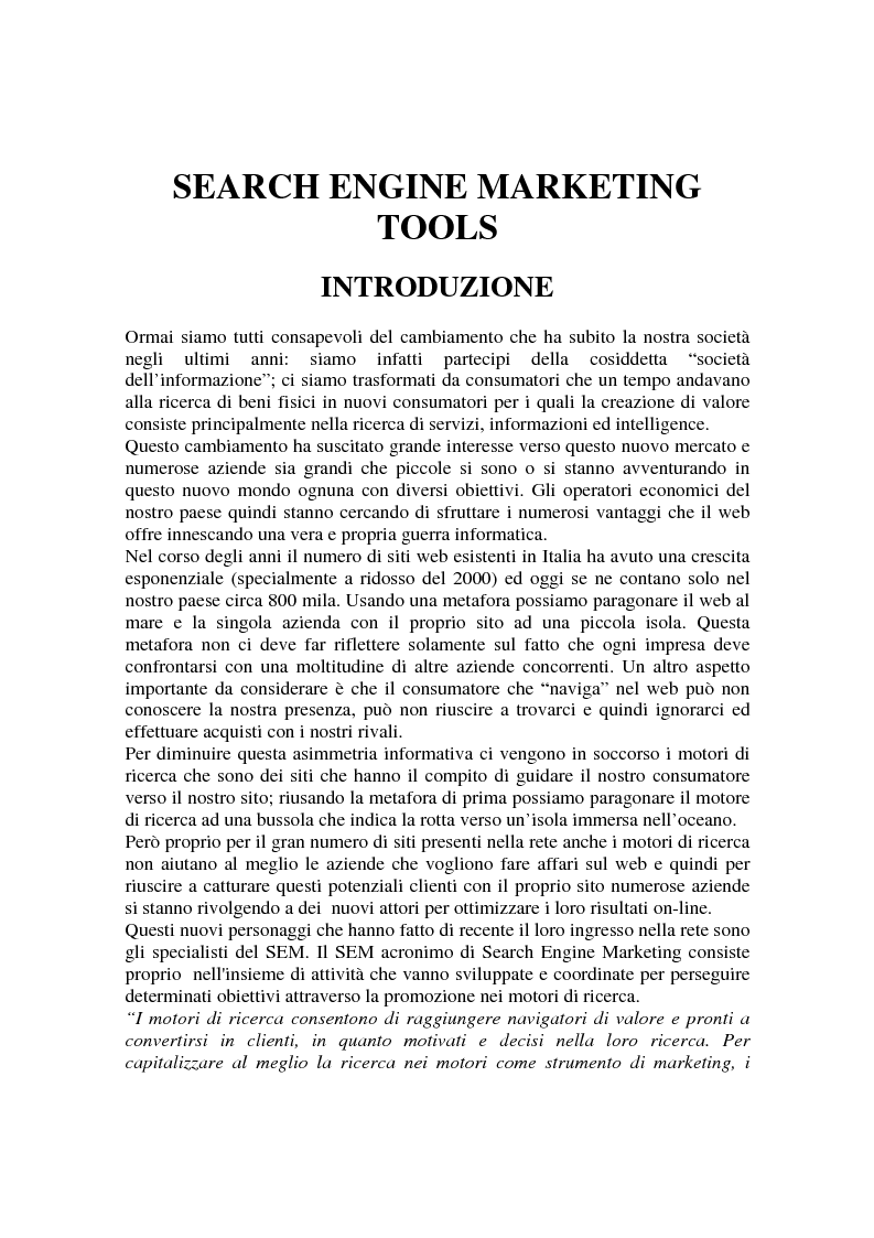 Anteprima della tesi: Search Engine Marketing Tools, Pagina 1