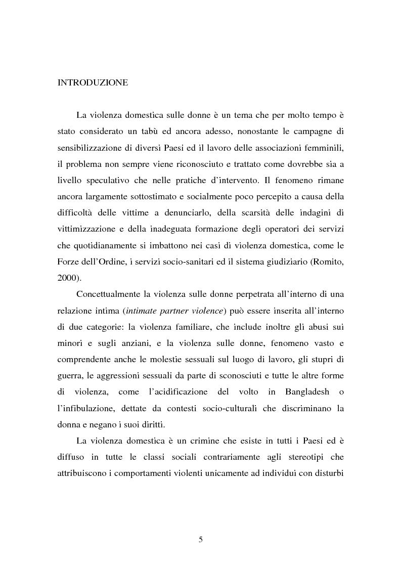 Anteprima della tesi: Il partner violento. Approcci teorici alla violenza domestica sulla donna e programmi d'intervento per i maltrattatori, Pagina 1