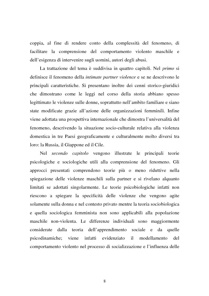 Anteprima della tesi: Il partner violento. Approcci teorici alla violenza domestica sulla donna e programmi d'intervento per i maltrattatori, Pagina 4
