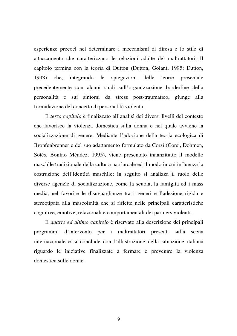 Anteprima della tesi: Il partner violento. Approcci teorici alla violenza domestica sulla donna e programmi d'intervento per i maltrattatori, Pagina 5