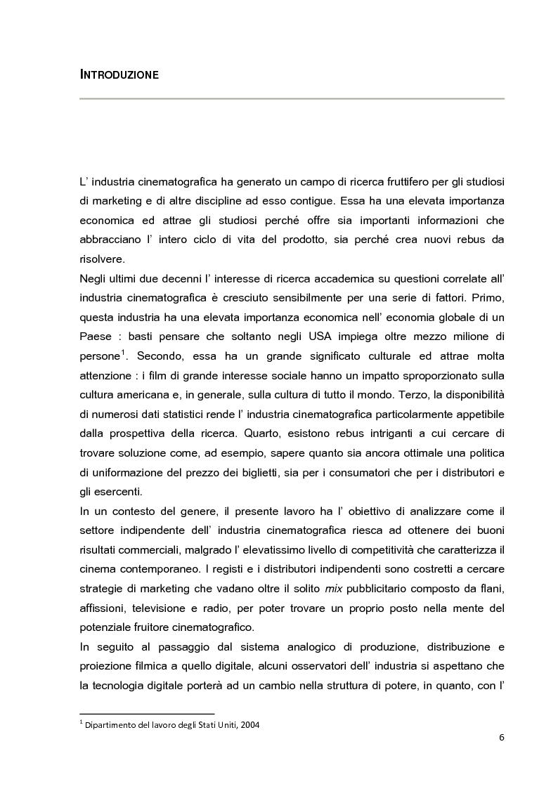 Anteprima della tesi: Le strategie di marketing nella promozione del cinema indipendente americano in Italia. I casi di The Blair Witch Project, Little Miss Sunshine e Paranoid Park, Pagina 1