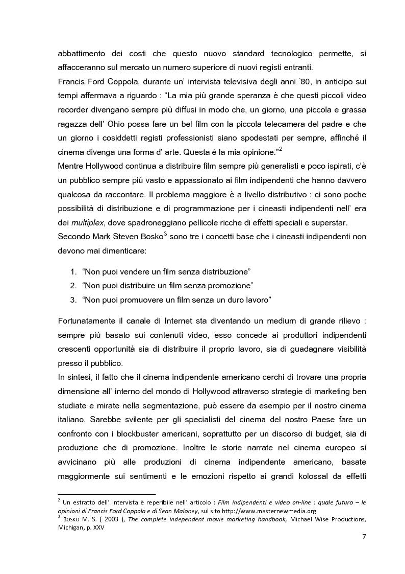 Anteprima della tesi: Le strategie di marketing nella promozione del cinema indipendente americano in Italia. I casi di The Blair Witch Project, Little Miss Sunshine e Paranoid Park, Pagina 2