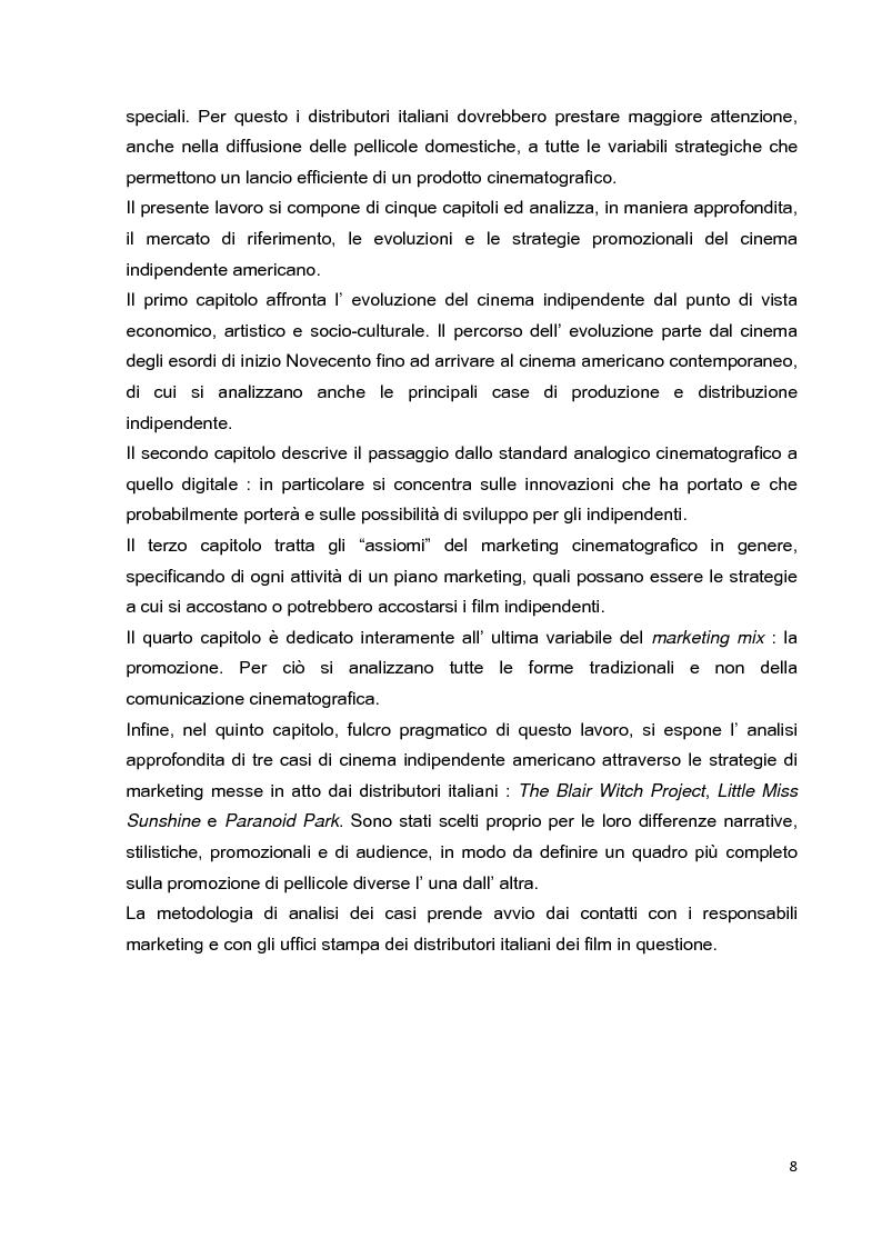 Anteprima della tesi: Le strategie di marketing nella promozione del cinema indipendente americano in Italia. I casi di The Blair Witch Project, Little Miss Sunshine e Paranoid Park, Pagina 3