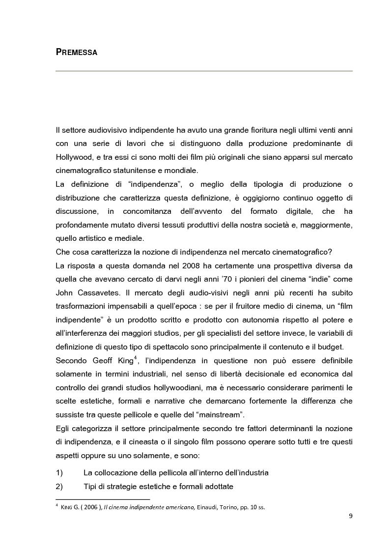 Anteprima della tesi: Le strategie di marketing nella promozione del cinema indipendente americano in Italia. I casi di The Blair Witch Project, Little Miss Sunshine e Paranoid Park, Pagina 4
