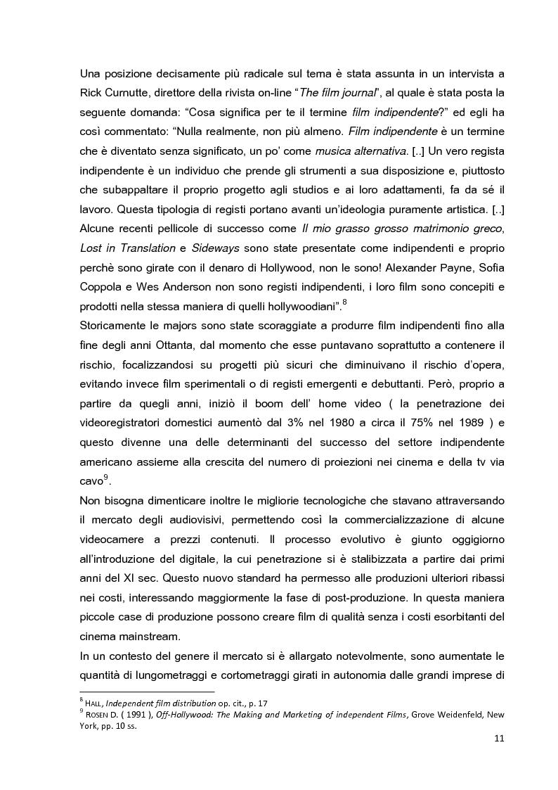 Anteprima della tesi: Le strategie di marketing nella promozione del cinema indipendente americano in Italia. I casi di The Blair Witch Project, Little Miss Sunshine e Paranoid Park, Pagina 6