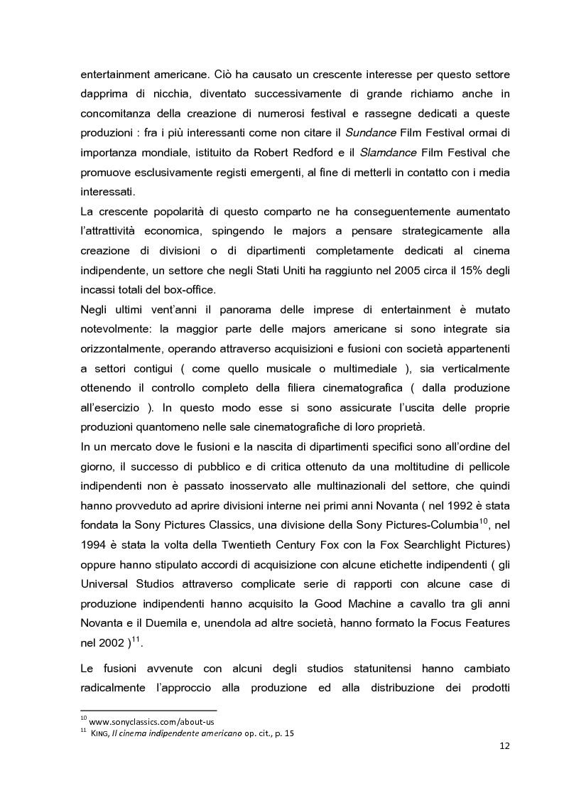 Anteprima della tesi: Le strategie di marketing nella promozione del cinema indipendente americano in Italia. I casi di The Blair Witch Project, Little Miss Sunshine e Paranoid Park, Pagina 7