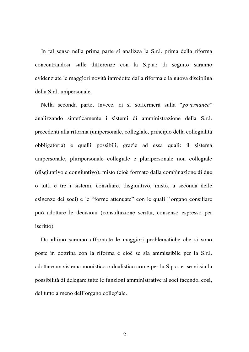 Anteprima della tesi: La nuova governance della s.r.l. dopo la riforma del diritto societario, Pagina 2