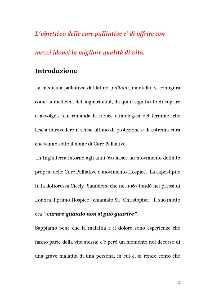 Anteprima della tesi: Ruolo infermieristico nelle cure palliative in oncologia, Pagina 1