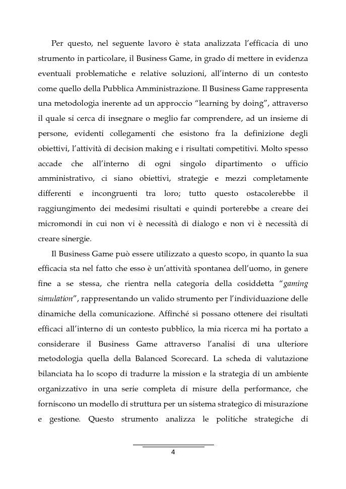 Anteprima della tesi: Il Business Game come strumento innovativo per la formazione delle persone nella Pubblica Amministrazione - Sviluppo di un'applicazione attraverso la Balanced Scorecard, Pagina 2